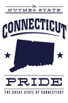 Connecticut State Pride - Blue on White - Lantern Press Artwork