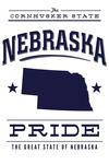 Nebraska State Pride - Blue on White - Lantern Press Artwork