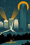 Oklahoma City, Oklahoma - Retro Skyline (no text) - Lantern Press Artwork