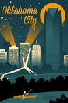 Oklahoma City, Oklahoma - Retro Skyline - Lantern Press Artwork