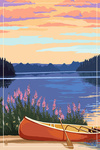 Canoe & Lake - Lantern Press Artwork