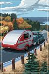Retro Camper on Road - Lantern Press Artwork