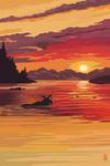 Moose at Sunset (Image Only) - Lantern Press Artwork