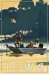 Iowa - Fishermen in Boat - Lantern Press Artwork