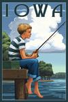 Iowa - Boy Fishing - Lantern Press Artwork