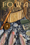 Iowa - Fishing Still Life - Lantern Press Artwork