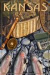 Kansas - Fishing Still Life - Lantern Press Artwork