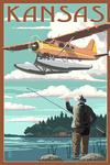 Kansas - Float Plane & Fisherman - Lantern Press Artwork