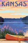 Kansas - Canoe & Lake - Lantern Press Artwork