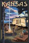 Kansas - Retro Camper & Lake - Lantern Press Artwork