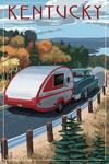 Kentucky - Retro Camper on Road - Lantern Press Artwork