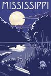 Mississippi - Lake at Night - Lantern Press Artwork