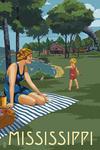 Mississippi - Lake & Picnic Scene - Lantern Press Artwork
