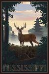 Mississippi - Deer & Sunrise - Lantern Press Artwork