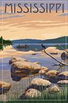 Mississippi - Lake Sunrise Scene - Lantern Press Artwork