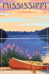 Mississippi - Canoe & Lake - Lantern Press Artwork