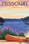 Missouri - Canoe & Lake - Lantern Press Artwork