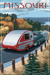 Missouri - Retro Camper on Road - Lantern Press Artwork