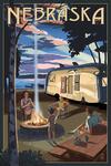 Nebraska - Retro Camper & Lake - Lantern Press Artwork