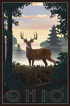Ohio - Deer & Sunrise - Lantern Press Artwork