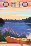 Ohio - Canoe & Lake - Lantern Press Artwork