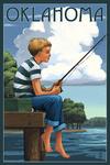 Oklahoma - Boy Fishing - Lantern Press Artwork