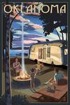 Oklahoma - Retro Camper & Lake - Lantern Press Artwork