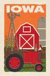 Iowa - Country - Woodblock - Lantern Press Artwork