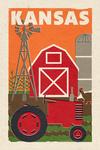 Kansas - Country - Woodblock - Lantern Press Artwork