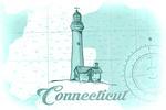 Connecticut - Lighthouse - Teal - Coastal Icon - Lantern Press Artwork