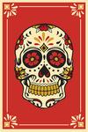 Day of the Dead - Sugar Skull and Flower Pattern - Lantern Press Artwork