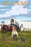 Oklahoma - Wagon Scene - Lantern Press Artwork