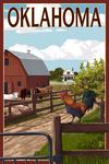 Oklahoma - Barnyard Scene - Lantern Press Artwork