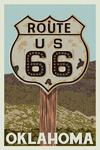 Oklahoma - Route 66 - Letterpress - Lantern Press Artwork