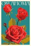 Oklahoma - Rose - Letterpress - Lantern Press Artwork