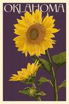 Oklahoma - Sunflowers - Letterpress - Lantern Press Artwork