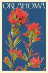 Oklahoma - Indian Paintbrush - Letterpress - Lantern Press Artwork