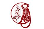 Silhouette - Monkey in Circle - Red - Lantern Press Artwork
