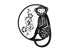Silhouette - Monkey in Circle - Black - Lantern Press Artwork