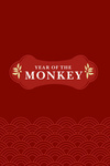 Silhouette - Year of the Monkey - Red - Lantern Press Artwork