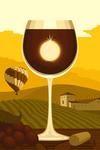 Wine Glass & Vineyard - Lantern Press Artwork