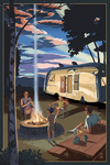 Retro Camper & Mountains - Lantern Press Artwork