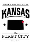 Leavenworth, Kansas - State Pride - The First City - Black on White - Lantern Press Artwork