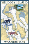 Whidbey Island, Washington - Nautical Chart - Lantern Press Artwork