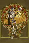 Day of the Dead - Skeleton Holding Sugar Skull - Lantern Press Artwork