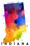 Indiana - State Abstract Watercolor - Lantern Press Artwork