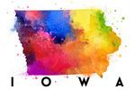 Iowa - State Abstract Watercolor - Lantern Press Artwork