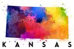 Kansas - State Abstract Watercolor - Lantern Press Artwork