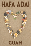 Hafa Adai, Guam - Stone Heart on Sand (dark) - Lantern Press Photography