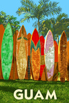 Guam - Surfboad Fence - Lantern Press Artwork